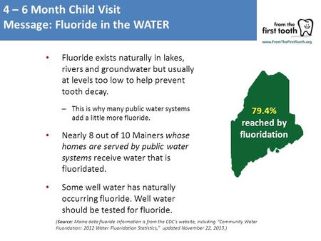Fluoride exists naturally in lakes, rivers and groundwater but usually at levels too low to help prevent tooth decay. – This is why many public water systems.