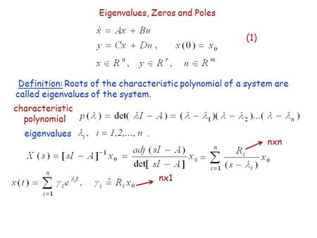 Eigenvalues, Zeros and Poles (1) Definition: Roots of the characteristic polynomial of a system are called eigenvalues of the system. characteristic polynomial.