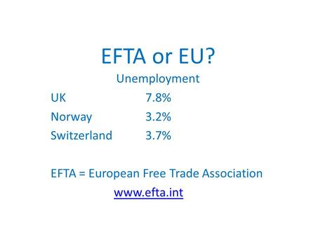 EFTA or EU? Unemployment UK 7.8% Norway 3.2% Switzerland 3.7% EFTA = European Free Trade Association www.efta.int.