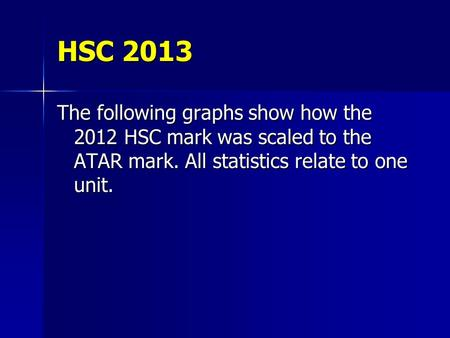 HSC 2013 The following graphs show how the 2012 HSC mark was scaled to the ATAR mark. All statistics relate to one unit.