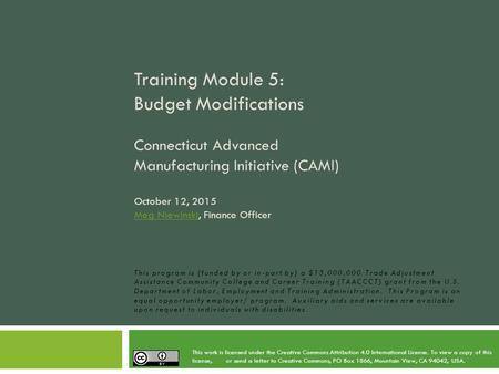Training Module 5: Budget Modifications Connecticut Advanced Manufacturing Initiative (CAMI) October 12, 2015 Meg Niewinski, Finance Officer Meg Niewinski.
