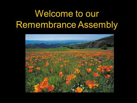 Welcome to our Remembrance Assembly. Armistice Day Eleventh hour of the eleventh day of the eleventh month.