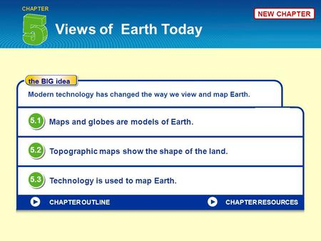 Views of Earth Today CHAPTER the BIG idea CHAPTER OUTLINE Modern technology has changed the way we view and map Earth. Maps and globes are models of Earth.