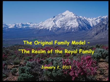 "The Original Family Model – ""The Realm of the Royal Family January 2, 2011."