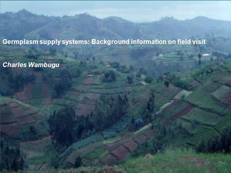 Germplasm supply systems: Background information on field visit Charles Wambugu.