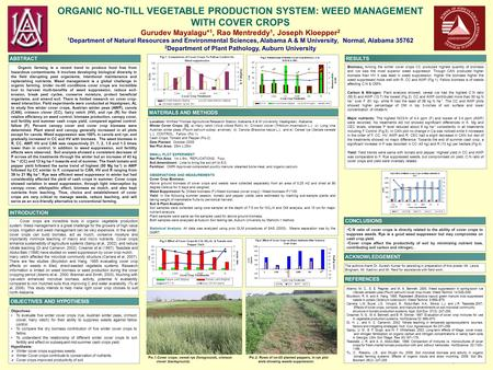 Printed by www.postersession.com ORGANIC NO-TILL VEGETABLE PRODUCTION SYSTEM: WEED MANAGEMENT WITH COVER CROPS Gurudev Mayalagu* 1, Rao Mentreddy 1, Joseph.