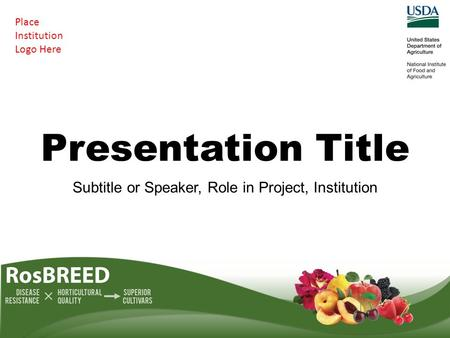 Presentation Title Subtitle or Speaker, Role in Project, Institution Place Institution Logo Here.
