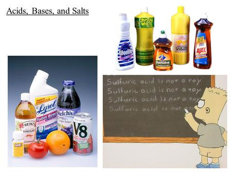 Acids, Bases, and Salts. Properties of acids: - contain the hydronium ion, H 3 O + - react with metals to form hydrogen gas, H 2 - taste sour - have pH.
