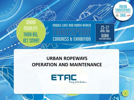 URBAN ROPEWAYS OPERATION AND MAINTENANCE 1. TITLE.