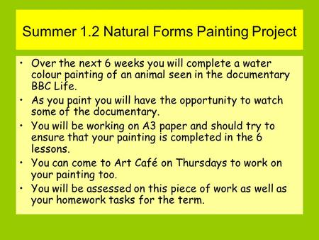 Summer 1.2 Natural Forms Painting Project Over the next 6 weeks you will complete a water colour painting of an animal seen in the documentary BBC Life.