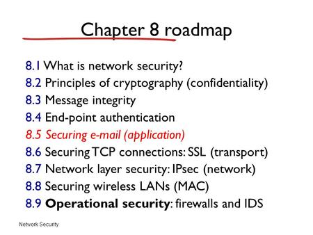 Network Security Chapter 8 roadmap 8.1 What is network security? 8.2 Principles of cryptography (confidentiality) 8.3 Message integrity 8.4 End-point authentication.