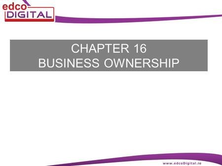 CHAPTER 16 BUSINESS OWNERSHIP. 2 R. Delaney Sole Traders A sole trader is a person who owns, manages and provides the money (capital) for a business.