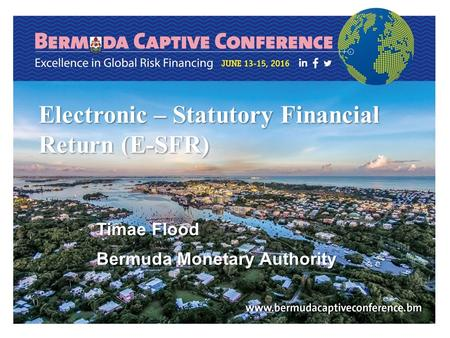 Electronic – Statutory Financial Return (E-SFR) Timae Flood Bermuda Monetary Authority.