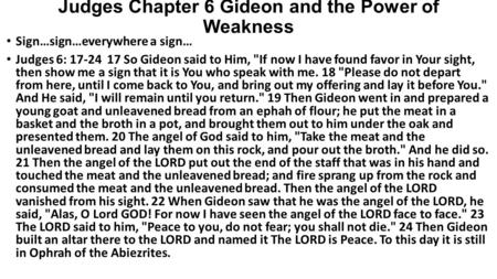 Judges Chapter 6 Gideon and the Power of Weakness
