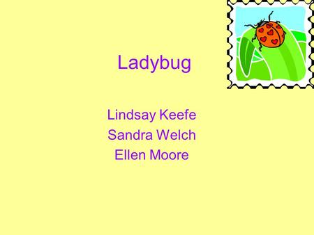 Ladybug Lindsay Keefe Sandra Welch Ellen Moore Why the Ladybug??? Loved for their color Hard workers A value to nature Good luck if they land on you.