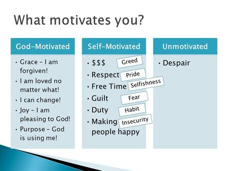 God-Motivated Grace – I am forgiven! I am loved no matter what! I can change! Joy – I am pleasing to God! Purpose – God is using me! Self-Motivated $$$