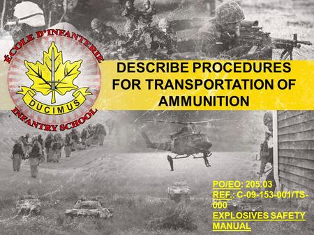 PO/EO: 205.03 REF.: C-09-153-001/TS- 000 EXPLOSIVES SAFETY MANUAL DESCRIBE PROCEDURES FOR TRANSPORTATION OF AMMUNITION.