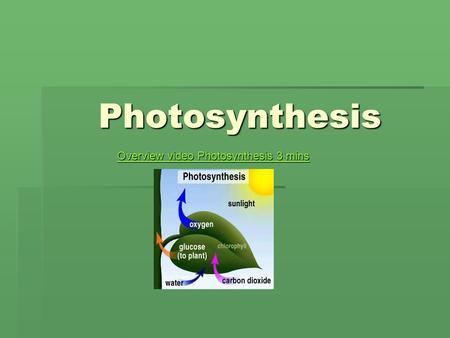 Photosynthesis Overview video Photosynthesis 3 mins Overview video Photosynthesis 3 mins.