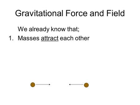 Gravitational Force and Field We already know that; 1.Masses attract each other.
