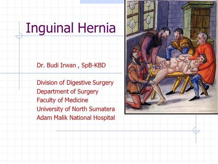 Inguinal Hernia Dr. Budi Irwan, SpB-KBD Division of Digestive Surgery Department of Surgery Faculty of Medicine University of North Sumatera Adam Malik.