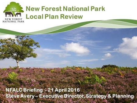 New Forest National Park Local Plan Review NFALC Briefing - 21 April 2016 Steve Avery – Executive Director, Strategy & Planning.