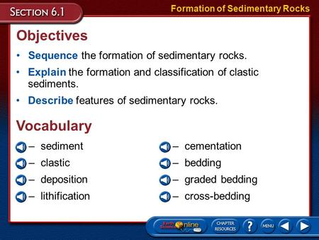 Objectives Sequence the formation of sedimentary rocks. Formation of Sedimentary Rocks Explain the formation and classification of clastic sediments.