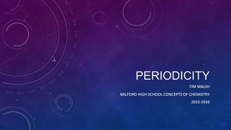 PERIODICITY TIM WALSH MILFORD HIGH SCHOOL CONCEPTS OF CHEMISTRY 2015-2016.
