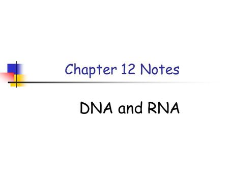 Chapter 12 Notes DNA and RNA. 12-1 DNA In 1928 Fredrick Griffith was studying the bacteria that cause pneumonia. - smooth  mouse dies - rough  mouse.