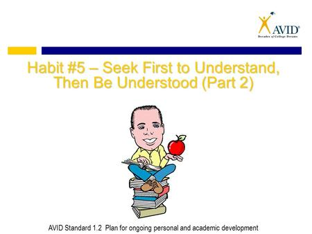 Habit #5 – Seek First to Understand, Then Be Understood (Part 2) AVID Standard 1.2 Plan for ongoing personal and academic development.