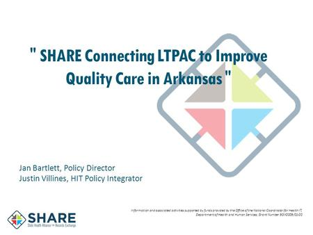 SHARE Connecting LTPAC to Improve Quality Care in Arkansas  Information and associated activities supported by funds provided by the Office of the National.