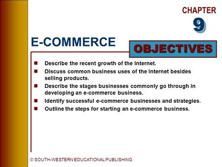 CHAPTER OBJECTIVES © SOUTH-WESTERN EDUCATIONAL PUBLISHING E-COMMERCE nDescribe the recent growth of the Internet. nDiscuss common business uses of the.