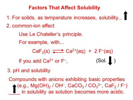 Factors That Affect Solubility 1. For solids, as temperature increases, solubility... 2. common-ion effect Use Le Chatelier's principle. For example, with...