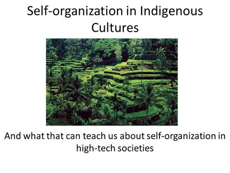 Self-organization in Indigenous Cultures And what that can teach us about self-organization in high-tech societies.