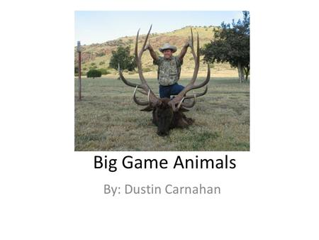Big Game Animals By: Dustin Carnahan. Objectives explain why it is important for an individual to accurately identify land animal species; Identify Texas.