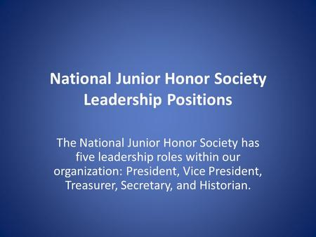 National Junior Honor Society Leadership Positions
