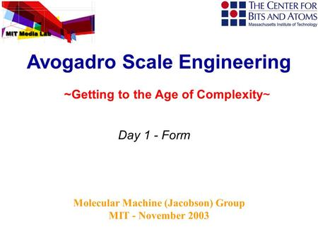 Molecular Machine (Jacobson) Group MIT - November 2003 Avogadro Scale Engineering Day 1 - Form ~Getting to the Age of Complexity~