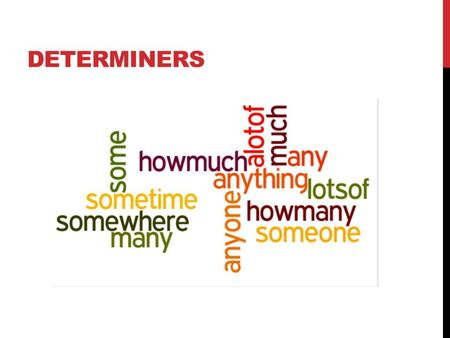 DETERMINERS. WHEN TO USE 'SOME' AND 'ANY' We use some and any with uncountable and plural nouns. They mean 'a limited number or quantity'. We use some.