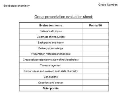 Evaluation itemsPoints/10 Relevance to topics Clearness of introduction Background and theory Delivery of knowledge Presentation materials and handout.