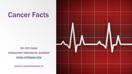 Cancer Facts MS JYOTI SHAH CONSULTANT UROLOGICAL SURGEON WWW.JYOTISHAH.COM SOURCE: CANCER RESEARCH UK.