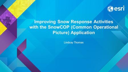Improving Snow Response Activities with the SnowCOP (Common Operational Picture) Application Lindsay Thomas.