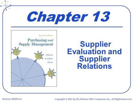Supplier Evaluation and Supplier Relations