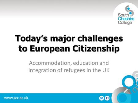 Today's major challenges to European Citizenship Accommodation, education and integration of refugees in the UK.