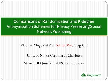 Xiaowei Ying, Kai Pan, Xintao Wu, Ling Guo Univ. of North Carolina at Charlotte SNA-KDD June 28, 2009, Paris, France Comparisons of Randomization and K-degree.