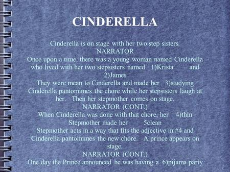 CINDERELLA Cinderella is on stage with her two step sisters. NARRATOR Once upon a time, there was a young woman named Cinderella who lived with her two.