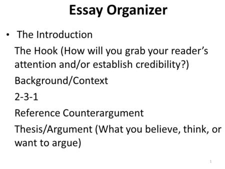 Essay Organizer The Introduction The Hook (How will you grab your reader's attention and/or establish credibility?) Background/Context 2-3-1 Reference.