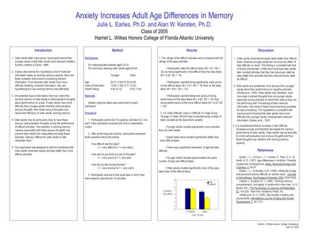 Anxiety Increases Adult Age Differences in Memory Julie L. Earles, Ph.D. and Alan W. Kersten, Ph.D. Class of 2005 Harriet L. Wilkes Honors College of Florida.
