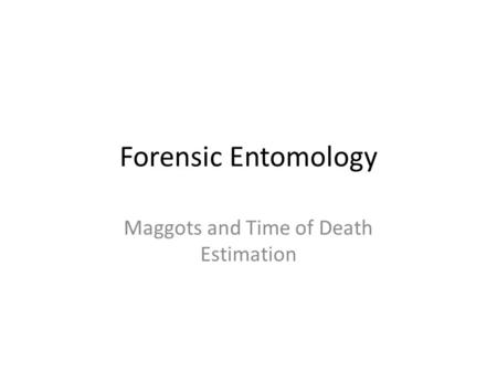 Forensic Entomology Maggots and Time of Death Estimation.
