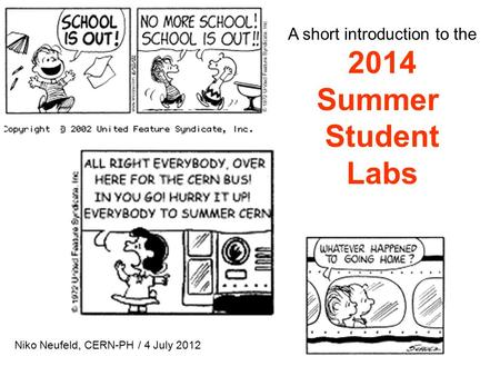 A short introduction to the 2014 Summer Student Labs Niko Neufeld, CERN-PH / 4 July 2012.