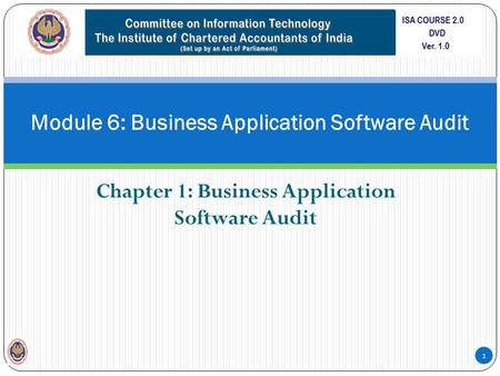 Module 6: Business Application Software Audit Chapter 1: Business Application Software Audit 1.