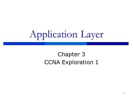 Application Layer Chapter 3 CCNA Exploration 1.